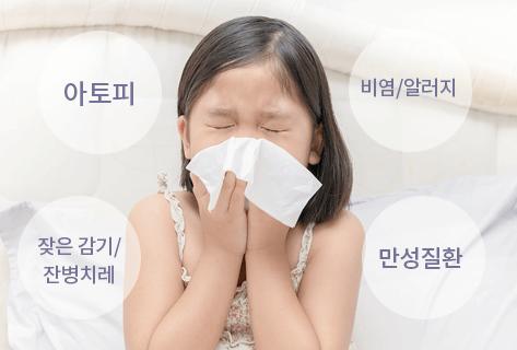 아토피, 비염/알러지, 잦은감기/잔병치레, 만성질환