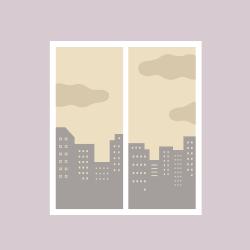 창가로 보이는 오염된 환경